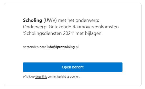 Bewijs Scholingspartner IPro Training NL met het UWV 2021.